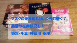 マスク売り切れ品薄・在庫状況,東京・千葉・神奈川・栃木,地方