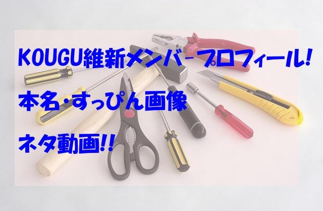 KOUGU維新メンバー,wikiプロフィール,本名,すっぴん,画像,ネタ動画